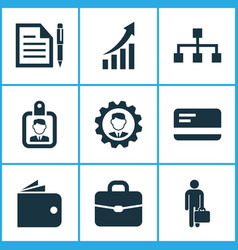 trade icons set with growing chart identification vector image