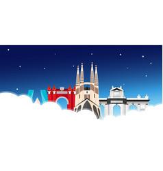 travel to spain skyline flat vector image