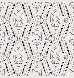 Tribal seamless pattern with wolf vector