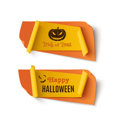 two orange and yellow halloween treat or trick vector image vector image