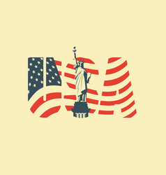 Usa letters american flag and statue liberty vector