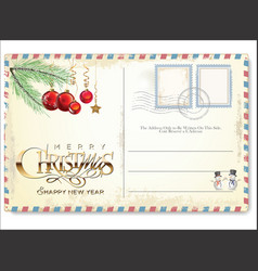vintage christmas postcard 2 vector image