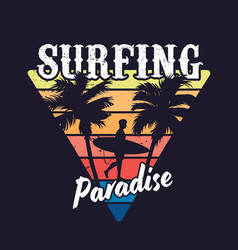 vintage colorful surfing concept vector image