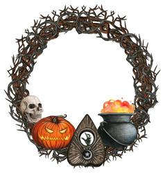 Watercolor halloween wreath vector