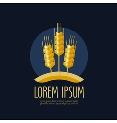 Wheat bread logo design template farm or vector