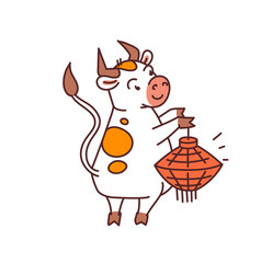 white metal bull with red lantern - chinese new vector image