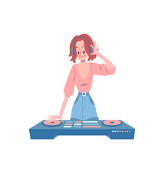 woman stands at dj console and holding headphones vector image