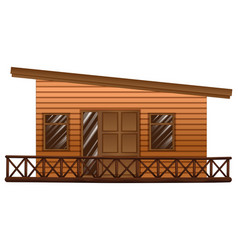 wooden hut with terrace vector image