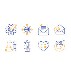 yummy smile cogwheel and send mail icons set vector image