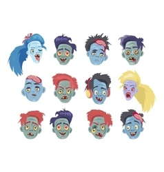 Zombies heads flat collection vector