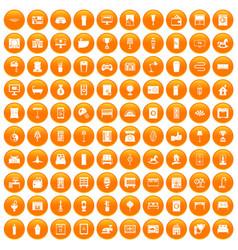 100 interior icons set orange vector image