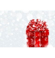Christmas gift in snow vector image vector image