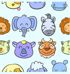 doodle of various animal head style vector image vector image