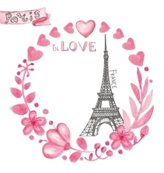 Paris in loveWatercolor floral pink wreathEiffel vector image