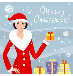 Santa girl with gift box vector image