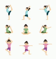 Yoga set girl yoga exercises in lesson class heal vector