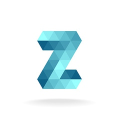 Z letter logo template Technical triangles style vector image