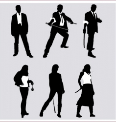 bad guy silhouettes vector image