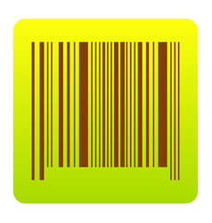 bar code sign brown icon at green-yellow vector image