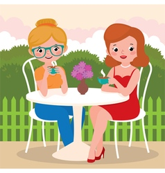 Girls friends in an outdoor cafe vector image vector image