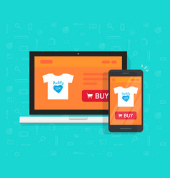 Responsive internet shop development design vector