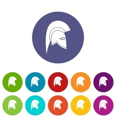 Roman helmet set icons vector image vector image