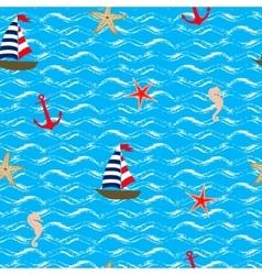 Seamless pattern Sea style vector image