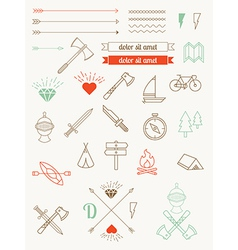 set of icons items badges hipster style vector image vector image