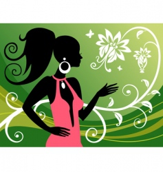woman and floral ornaments vector image vector image