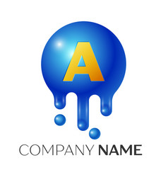 A letter splash logo blue dots and bubbles letter vector