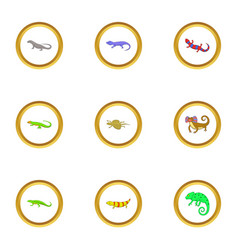 color lizard icons set cartoon style vector image vector image