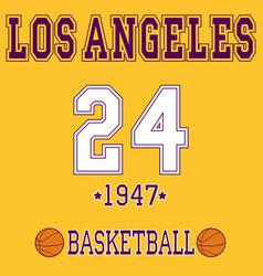 los angeles sport t- shirt desig vector image vector image