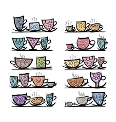Ornate mugs on shelves sketch for your design vector image vector image