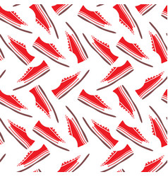 red textile sneakers with white laces seamless vector image