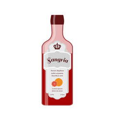sangria bottle spanish wine with orange vector image vector image