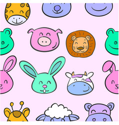 collection stock animal head various doodles vector image