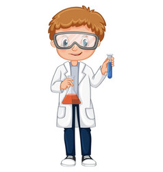 kid doing science experiment vector image vector image