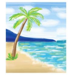 palm tree at the sea coast and the sea vector image