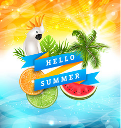 Summer funny poster design with parrot cockatoo vector