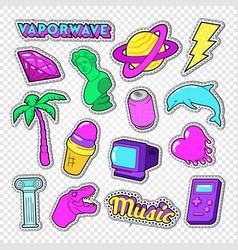 vaporwave teenager style doodle neon stickers vector image