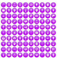 100 lamp icons set purple vector