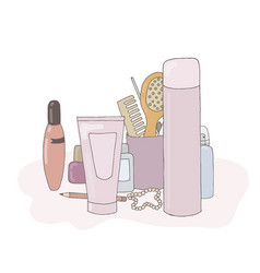 A set of cosmetic products makeup kit personal vector