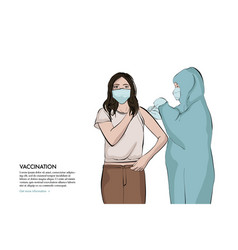 anaesthetist making arm injection to girl anti vector image