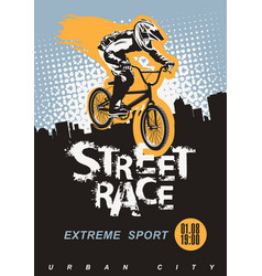 banner on theme a bicycle street race vector image