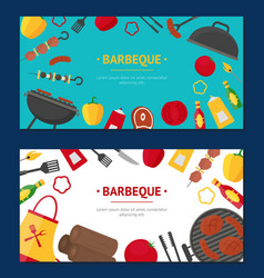 barbecue and grill banner horizontal set vector image