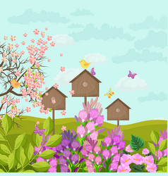 beautiful spring card with bird houses vector image