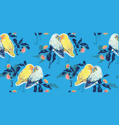 blue pattern with love birds vector image