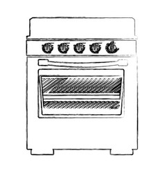 blurred silhouette of stove with oven vector image
