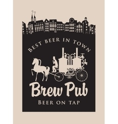 Brewery with horse carriage in the old town vector