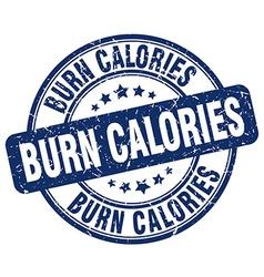 burn calories blue grunge round vintage rubber vector image